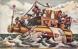 Milwaukee Wi Miller High Life Beer Brewing Company Bottle Ship Postcard
