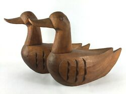 Pair 9 Hand Carved Wooden Ducks Sculpture Stained Wood Decor Decorative Decoy