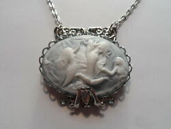 Antique Silver Color Filigree Playing Mermaids Cameo Necklace 20 Chain