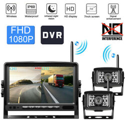 Digital Wireless Fhd 1080p 7and039and039 Dvr Monitor Dual Backup Camera For Truck Caravan