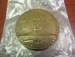 1917 Wwi French Bronze Medal Woodrow Wilson Us Entering War With Allies 68mm