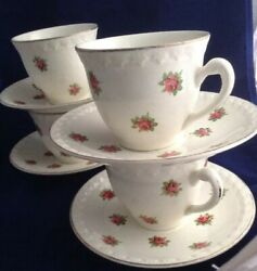 Beautiful 1950s H Aynsley Set Of 4 Teacups And Saucers With A Rose Bud Design