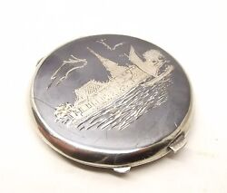 Vtg Siam Sterling Silver Compact Mirror Powder Cosmetic Thai Dancer Niello Ware