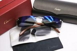 Cartier Vintage glasses All Wooden Patterned Frames 140B Mirror lens Auth