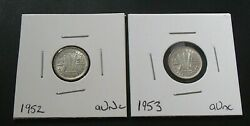 1952 1953 About Uncirculated Silver 3d Threepence Coins - Kgvi Qeii - 337