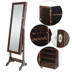 Free Standing Full Length Brown Mirror Jewelry Cabinet Armoire Storage Lockable