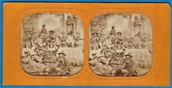 Tinted Tissue Stereoview Photo Pifferari And Country Girls Italy Foto Stereo 1865