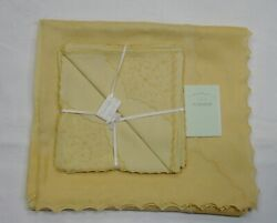 Vintage Marghab Unused 90 Tablecloth 8 Napkins Yellow Marlace Exquisite