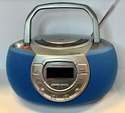 Emerson Pd5500 Am/fm Radio And Portable Cd Stereo System Boomerang-silver W/blue
