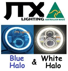 1pr Jtx 7 Led Headlights Blue And White Land Rover Series 1 2 2a 3
