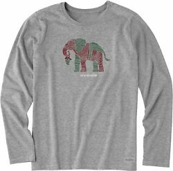 Life Is Good Womens Elephant Crusher Long Sleeve T-Shirt
