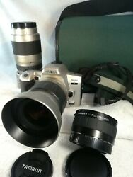 Minolta 360 Si Andalpha Slr Film Camera With 3 Zoom Lenses With From Japan Em6b45