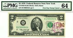 2 Dollars 1976 First Day Stamp Cancel Staten Island Ny. Lucky Money 3000