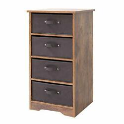 Iwell Wooden 4-Tier Dresser Storage Tower with Removable Drawer Chest Storage