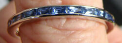 Yogo Sapphire 9 Stone Partial Eternity Ring 14kt White Gold Ring