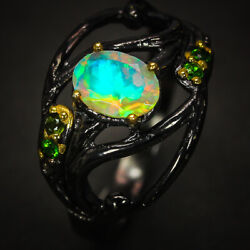 Sterling Silver Ring Vintage Antique Jewelry Natural Opal Handmade / Rvs305