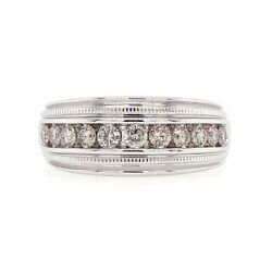 1.00 Ct Tw F/si1 Round Cut Diamond Menand039s Channel Wedding Band 14k White Gold