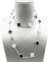 Van Cleef & Arpels Vintage Alhambra Long Motifs White Gold Diamond Onyx Necklace
