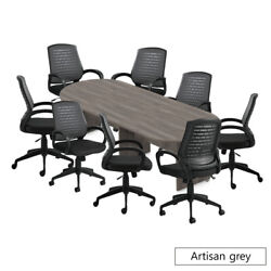 Gof 10 Ft Conference Table With 8 Chairs Artisan Grey 9-piece Table Set