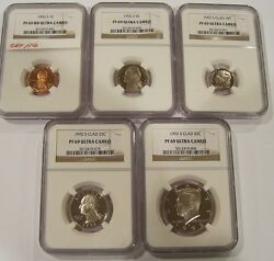 1992-s Proof69 Ultra Cameo Ngc Set One Cent,nickel,dime,quarter And Half Set116