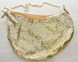 Womens Evening Bag Gold Mesh with Gold Chain Satin Lined Mirror Pocket $11.99
