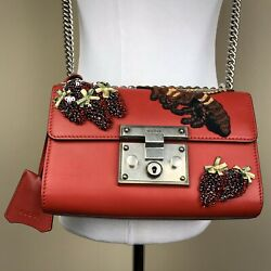 Red Padlock 432182 Purse Leather Embroidered Bee Sequin Strawberry Rare