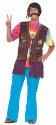 Hippie Peace Vest With Embroidered Patches Adult Unisex 1960s 1970s 64063