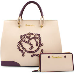 Braccialini designer pink leather Tote bag + wallet with small flowers applique $600.00
