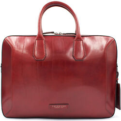 THE BRIDGE Made in Italy designer luxury burgundy Laptop leather business bag