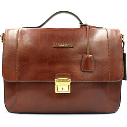 THE BRIDGE Made in Italy designer luxury brown leather men's business Briefcase