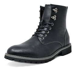 Bruno Marc Mens Lace Up Motorcycle Combat Boots Oxford Leather Dress Ankle Boots $13.99
