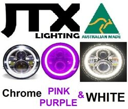 1pr Jtx 7 Led Chrome Headlights Purple And White Land Rover Series 1 2 2a 3