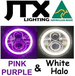 1pr Jtx 7 Led Headlights Purple And White Land Rover Series 1 2 2a 3