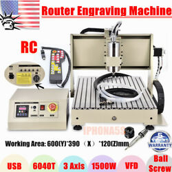 USB 1.5KW VFD 3 Axis 6040 Router Engraver Milling Drilling Machine+Controller