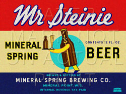 24 X 18 Reproduced Mr Steinie Beer Mineral Point Wi On Canvas