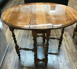 Used Antique English Gate Leg Round Dining Table Solid Wood Sideboard England