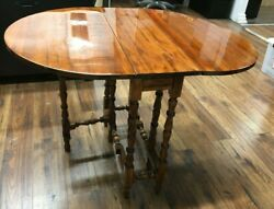 Used Antique English Gate Leg Oval Table Solid Wood