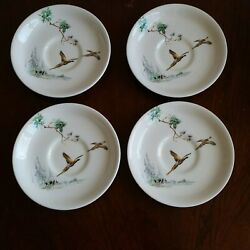 Set Of 4 Royal Doulton The Coppice Saucers Pheasants Birds Flying Earthenware.