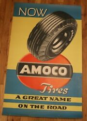 Vintage Now Amoco Tires A Great Name On The Road Gas Station Poster Oil Advertis