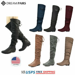 DREAM PAIRS Womens Over The Knee Boots Thigh High Slouch Suede Low Heel Boots $30.59