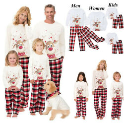 US Family Matching Christmas Deer Pajamas Set Women Kid Sleepwear Nightwear Gift