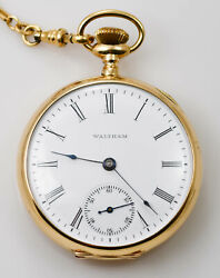1904 Waltham Open Face Pocket Watch With 14k Gold Case With G.f. Fob - Model 189
