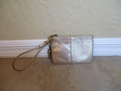 Coach Gold Leather Wristlet 6quot; Wide 4quot; Tall. $12.99
