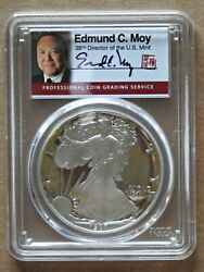 1987 S Proof Silver Eagle Pcgs Pr70 Dcam Edmund C. Moy Signed And Stamped Rare