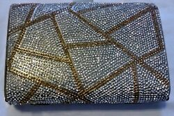 Beautiful gold silver clutch evening bag small w chain straps $24.00