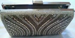 Silver bronze clutch evening bag with attachable straps small $25.00