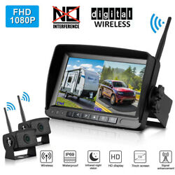 Dual Digital Wireless Backup Camera 7'' Fhd Rear View Monitor For Trailer Truck