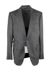 New Tom Ford Shelton Checked Gray Suit Size 52 / 42r U.s. Wool Silk