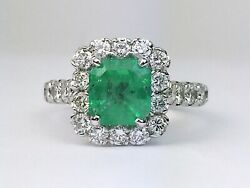 14k White Gold Natural Green Emerald Round Diamond Halo Engagement Ring 2.78 Ctw