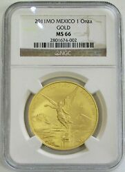 2011 Mo Gold Mexico 1 Oz Onza Libertad Winged Victory Coin Ngc Mint State 66
